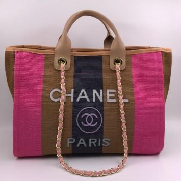 Сумка-шоппер из соломки Chanel в розовую полоску