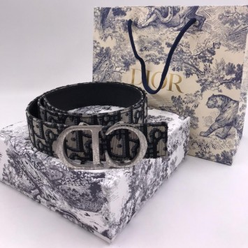 Ремень Dior серый с монограммой