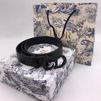 Ремень Dior черный с черной пряжкой