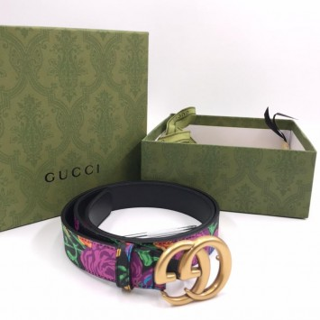 Ремень Gucci с цветочным принтом темный