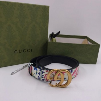 Ремень Gucci с цветочным принтом светлый