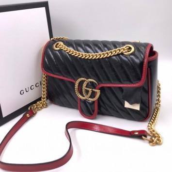 Сумка Gucci Marmont черно-красная
