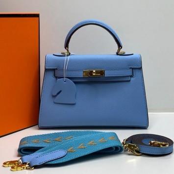 Мини-сумочка Hermes Kelly голубая