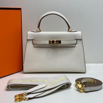 Мини-сумочка Hermes Kelly белая