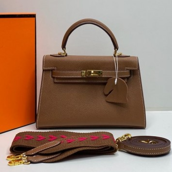 Мини-сумочка Hermes Kelly коричневая