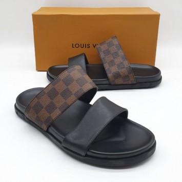 Шлепанцы Louis Vuitton кожаные коричневые