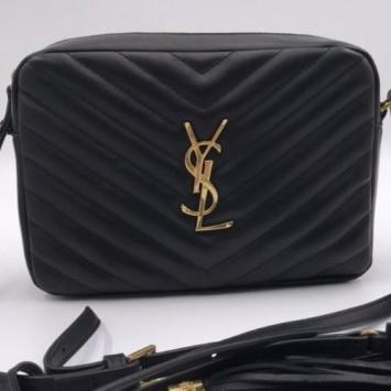 Сумка YSL  на плечо Loulou черная золотой фурнитурой
