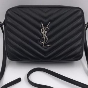 Сумка YSL  на плечо Loulou черная с серебряной фурнитурой