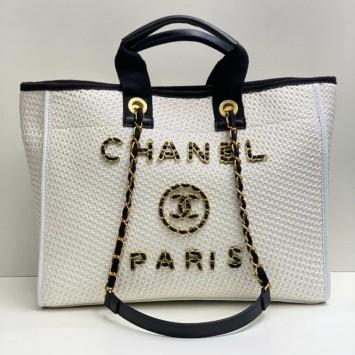 Сумка Chanel плетенная белая